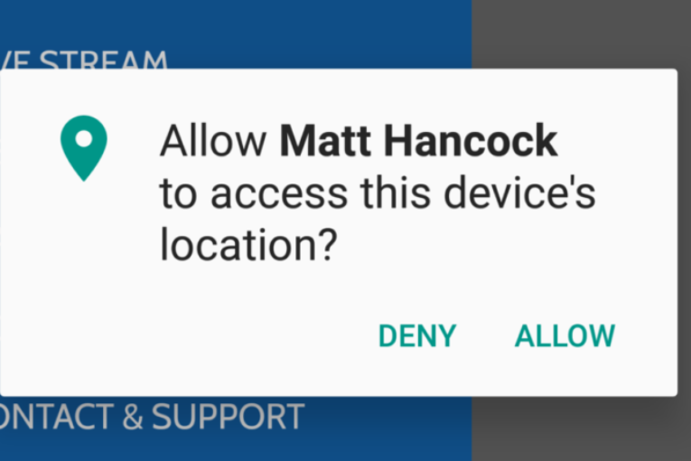 matt hancock device location